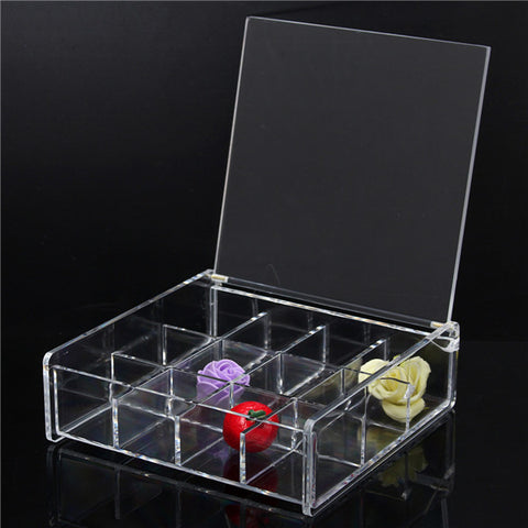 12 Square Lattice Acrylic Makeup Organizer Cosmetic Jewellery Nail Tips Display Clear Storage Case - Shopping2all - 1