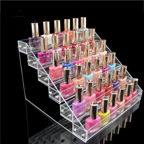 Acrylic Nail Polish Display Clear Cosmetic Varnish Stand Organizer 6 Tiers - Shopping2all - 1