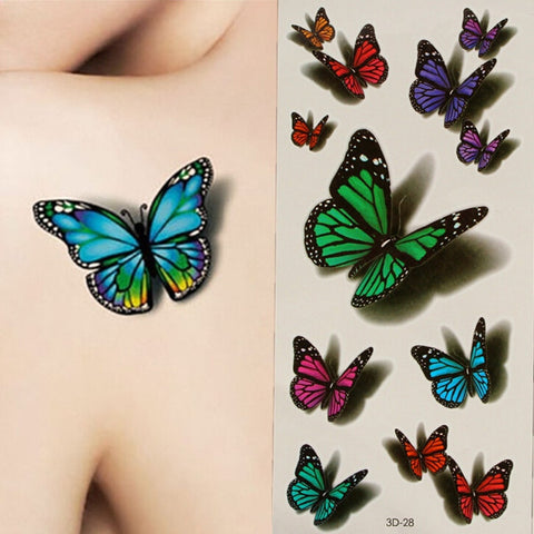 3D Butterfly Flying Design Temporary Tattoo Sticker Decal - Shopping2all - 1