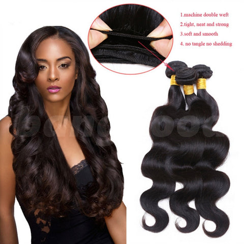 6A Brazilian Virgin Unprocessed Body Wave Wavy 100% Real Human Hair Extension - Shopping2all - 1