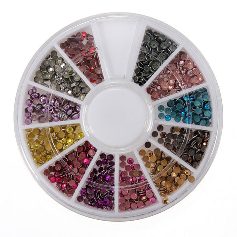 12 Colors Round Flatback Metallic Bead Nail Art Decoration Wheel - Shopping2all - 1