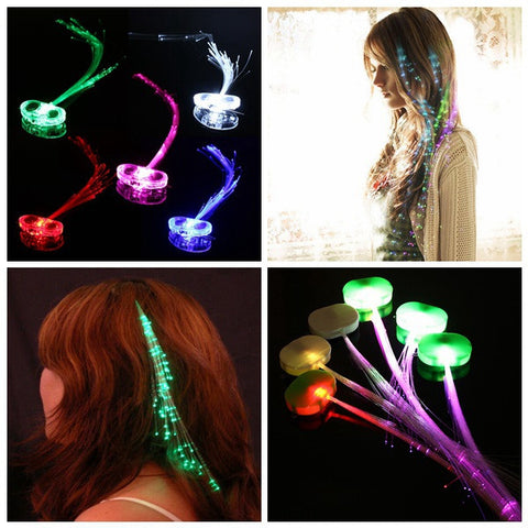 10Pcs LED Hair Extension Party Clip Pony Tail Fiber Optic Light Up - Shopping2all - 1