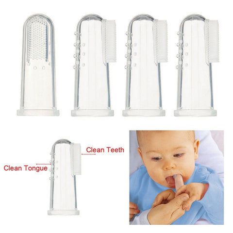 Baby Children Finger Teeth Tooth Clean Clear Gum Massage Brush Soft Silicone Toothbrush - Shopping2all - 1