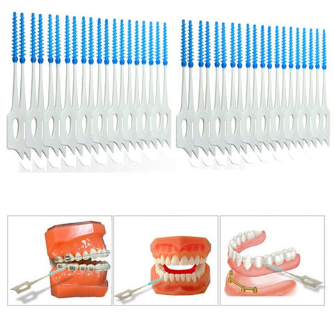 40pcs Interdental Between Teeth Floss Brush Elastic Massage Gum Toothpick - Shopping2all - 1