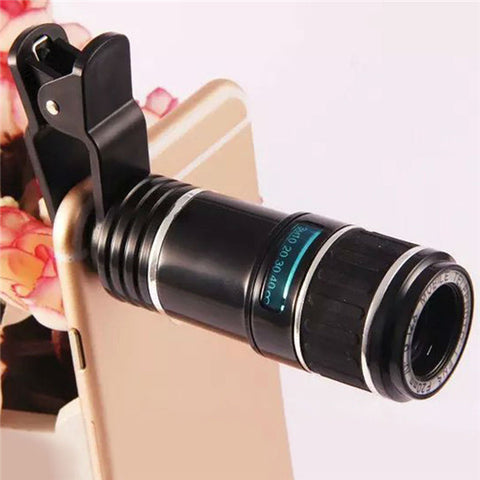 12X Universal Telephoto Lens Mobile Phone Optical Zoom Telescope Camera For iPhone Samsung - Shopping2all - 1