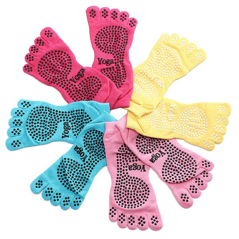 1 Pair Anti Skid Slip 5 Fingers Toe Full Grip Yoga Socks Pilates Gym Exercise Fitness Massage - Shopping2all