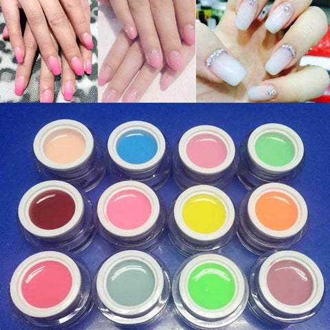 12 Colors Nail Art Jelly Extend UV Gel Varnish Extension Builder Manicure Glue - Shopping2all - 1