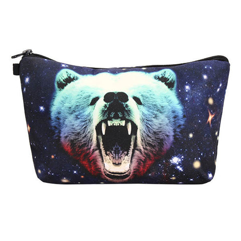 3D Starry Sky Bear Makeup Bag Animal Cosmetic Handbag with Zipper Lady Travel - Shopping2all - 1