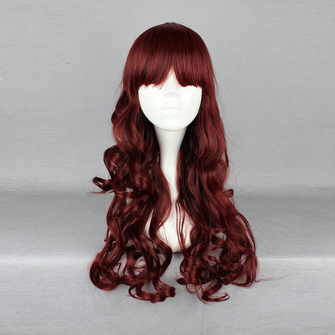 60cm Wine Red Full Bang Wavy Harajuku High Temperature Heat Friendly Synthetic Costume Cosplay Wig - Shopping2all - 1