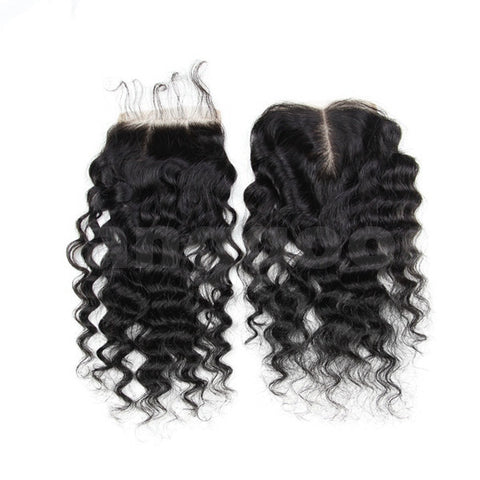6A Virgin Hair Lace Closure Brazilian Deep Curly Human Hair Closures 4x4 Free Middle Part - Shopping2all - 1