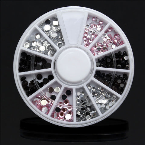 4 Sizes Acrylic Nail Art Decoration Tip Wheel Black White Pink Glitter Rhinestones - Shopping2all - 1