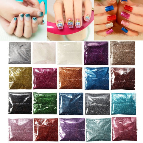 24 Colors Laser Fine Glitter Nail Art Powder DIY Decoration Dust - Shopping2all - 1