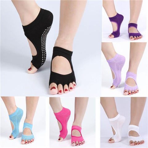 1 Pair Cotton Yoga Socks Half Toe Ankle Grip Durable Five Finger No-Slip - Shopping2all