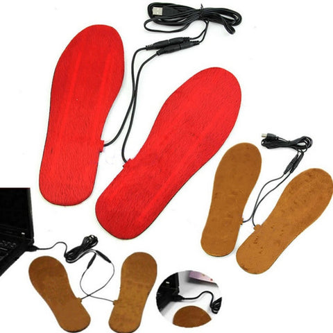 1 Pair USB Electric Powered Heated Insoles Keep Feet Warm Pad Free Size - Shopping2all