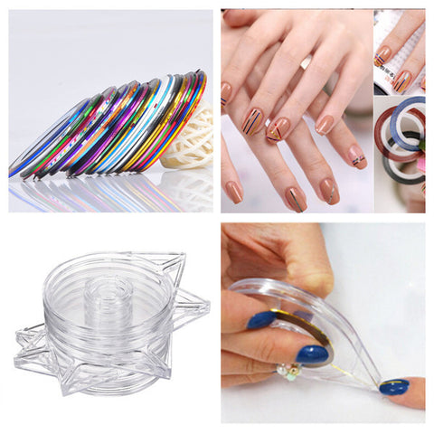 6Pcs Clear Nail Art Striping Tape Line Case Tool Sticker Box Holder - Shopping2all - 1