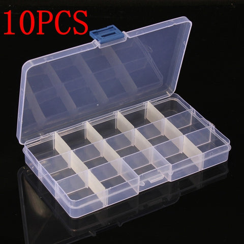 10PCS 15 Cells Compartment Plastic Storage Box Adjustable Detachable for Nail Tip Gems Little Stuff - Shopping2all - 1