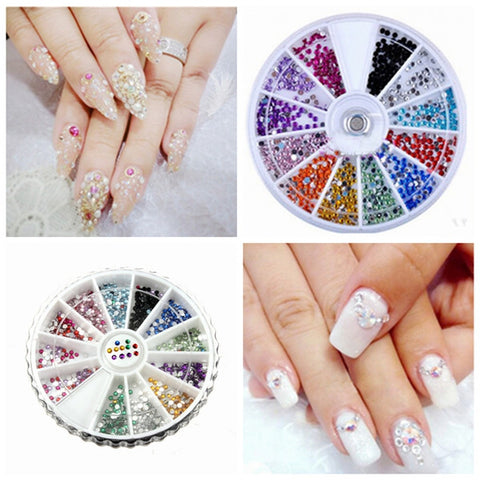 12 Colors Glitter Rhinestone Round Nail Art Decoration Wheel - Shopping2all - 1