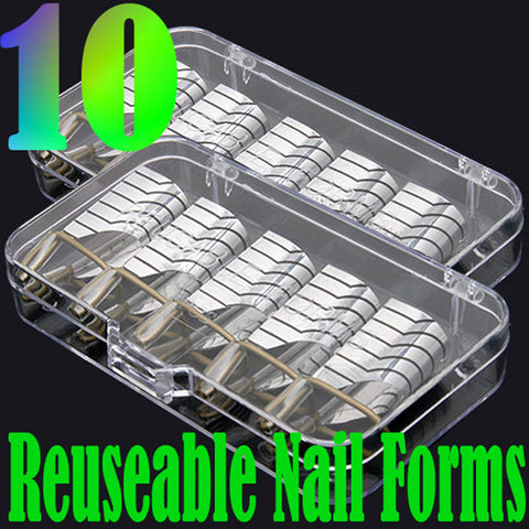 10pcs Silver Nail Art UV Gel Acrylic Extension Guide Forms - Shopping2all - 1