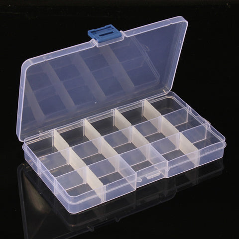 15 Cells Compartment Plastic Storage Box Adjustable Detachable for Nail Tip Gems Little Stuff - Shopping2all - 1
