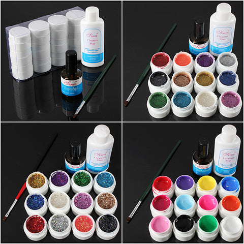 12 Color UV Gel Cleanser Plus Top Coat Brush Nail Art Set - Shopping2all - 1