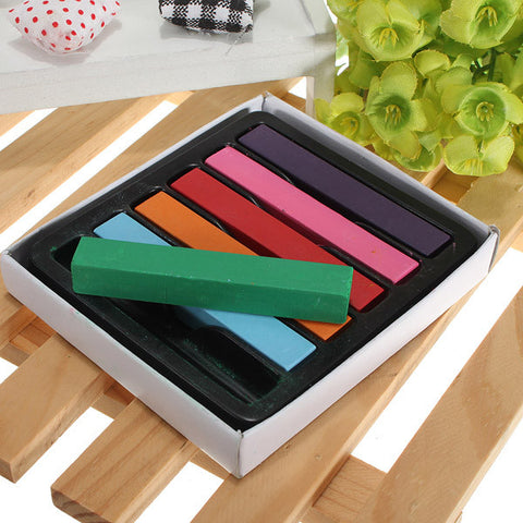 6pcs Non-toxic Temporary Pastel Square Hair Chalk High Quality - Shopping2all - 1