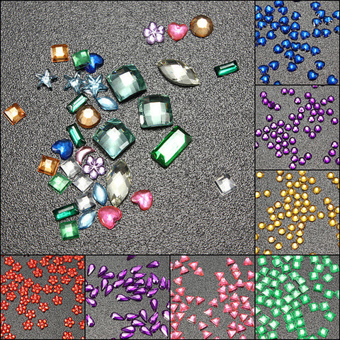 3000Pcs Multicolor Multi-shape Rhinestone Glitter Nail Art Decoration - Shopping2all - 1