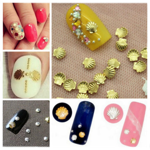 3mm Sliver Gold Shell Shape 3D Nail Art Decoration - Shopping2all - 1