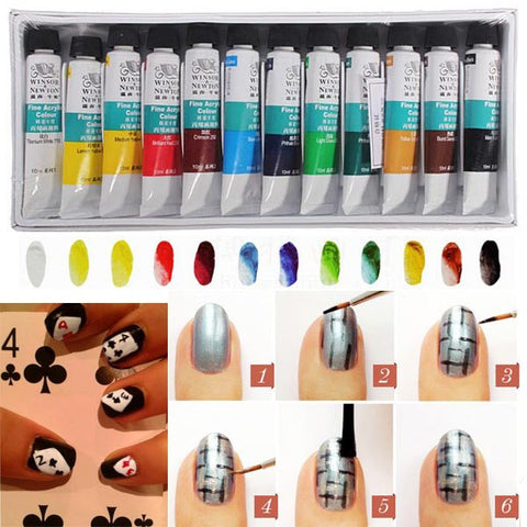 WINSOR NEWTON 3D 12 Colors Acrylic Nail Art Paint Paiting Set - Shopping2all - 1