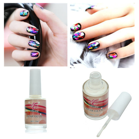 15ml Adhesive Nail Art Glue For Foil Sticker Nail Transfer Tips - Shopping2all - 1