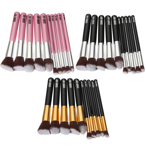 10 Pcs Wooden Handle Makeup Kit Cosmetic Brushes Set - Shopping2all - 1