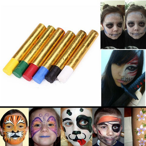 6 Colors Halloween Pigment Face Paint Body Painting Crayon Set - Shopping2all - 1