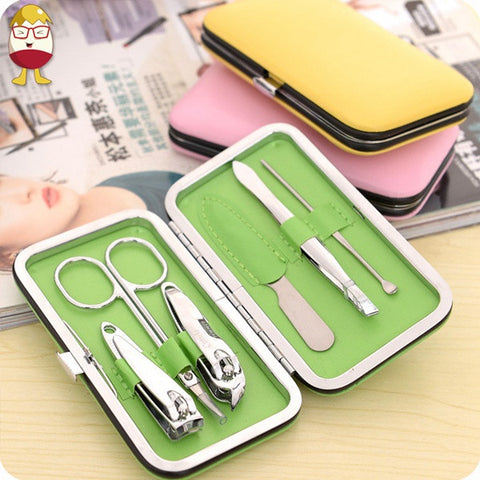 7pcs Stainless Steel Manicure Pedicure Ear Pick Nail Clipper File Set - Shopping2all - 1