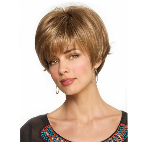 8 Colors Fluffy Short Virgin Human Hair Wigs Remy Mono Top Capless Full wig - Shopping2all - 1
