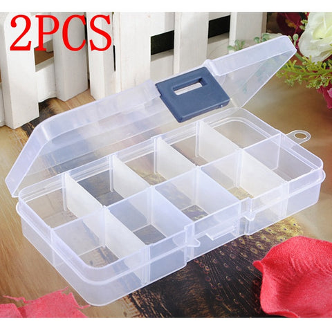 2Pcs Detachable Compartment Empty Storage Case Box 10 Cells For Nail Tip Gems Little Stuff - Shopping2all - 1
