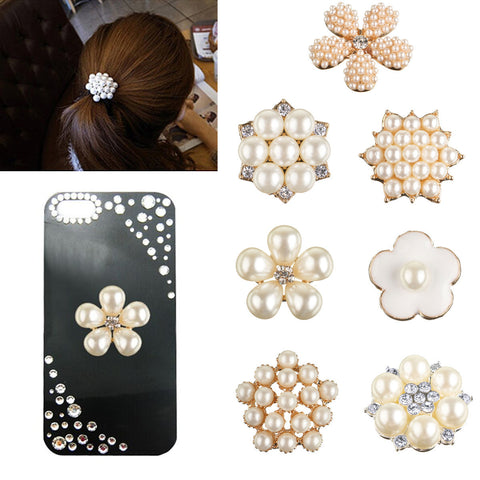 1Pc DIY Pearl Jewelry Accessories Hair Pendant Phone Paste Drill Embellishment - Shopping2all - 1