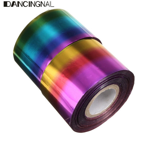 1 Roll 4CM X 110M Starry Neon Halo Sky Nail Transfer Foil Sticker Manicure Decoration Paper - Shopping2all