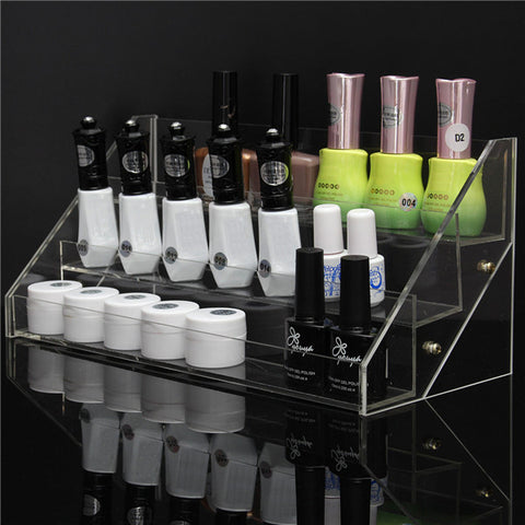 3 Tiers Clear Nail Polish Display Stand Acrylic Makeup Organizer Holder - Shopping2all - 1