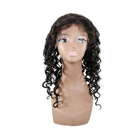 100% Curly Virgin Real Human Hair Hand Tied Monofilament Lace Front Wig - Shopping2all - 1