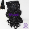 7Pcs NAWOMI 21.65 Inch Black Wavy Heat Resistant Friendly Clip In Synthetic Fiber Hair Extension - Shopping2all - 1