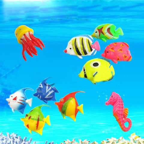 10 Tropical Marine Simulation Emulation Plastic Toy Fish - Shopping2all - 1
