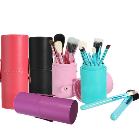 12Pcs Professional Makeup Cosmetic Brush Set Cylinder Leather Case - Shopping2all - 1