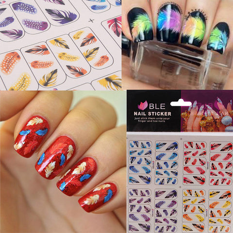 3D Feather Leaves French Nail Art Tips Water Transfer Nail Stickers - Shopping2all - 1