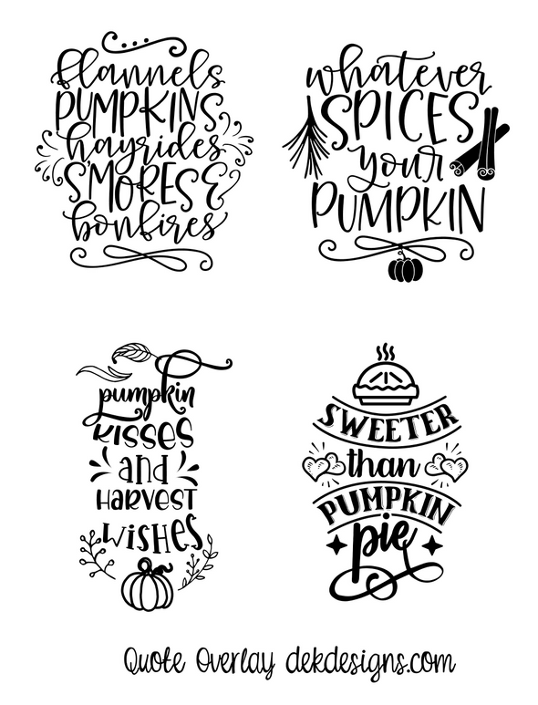 Fall Quotes Clear Foil Overlays - DEK Designs