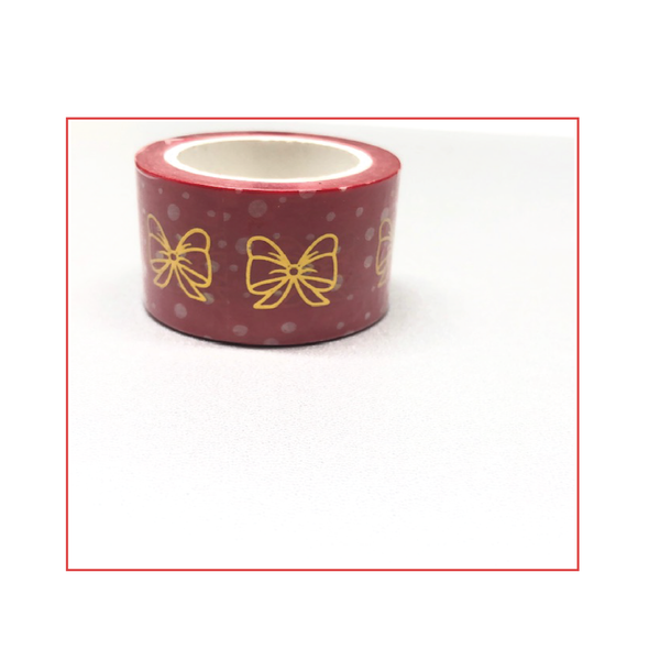 DEK Bow Washi Red Dot Gold Bow - DEK Designs