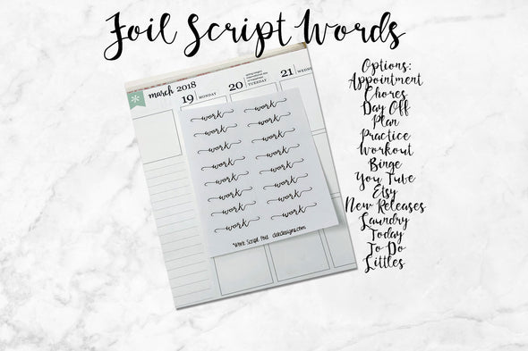 Foil Script Words-Several Word Options - DEK Designs