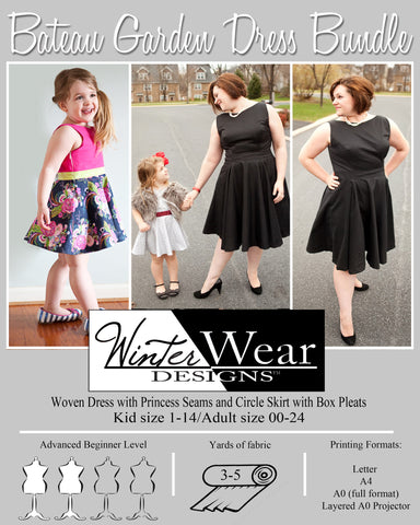 Mommy and Me Bateau Garden Dress Pattern for Women and Girls