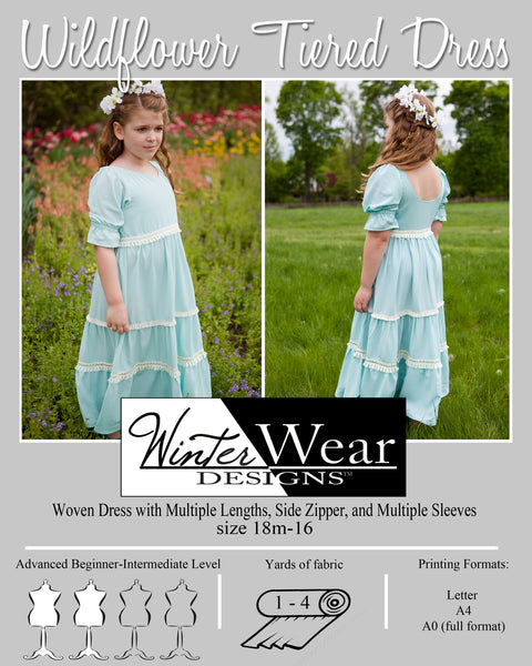 Wildflower Tiered Dress for Girls size 18m-16