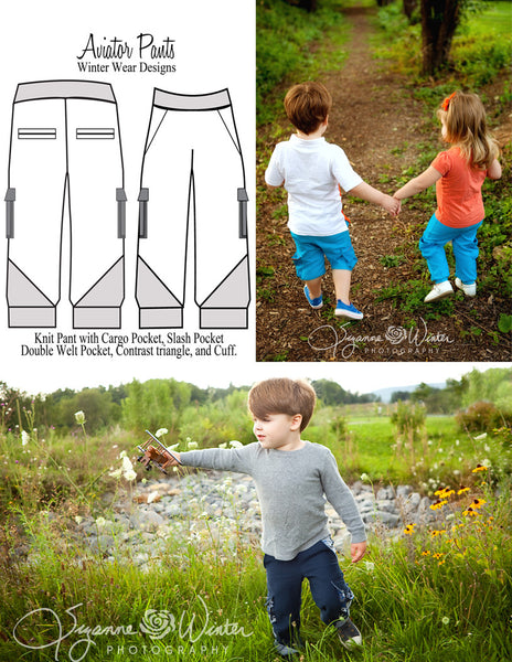 Mommy and Me Aviator Pants and Shorts Bundle for Women, boys and girls