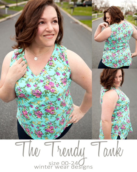 Trendy Tank for women size 00-24 (free w/ code, see inside)