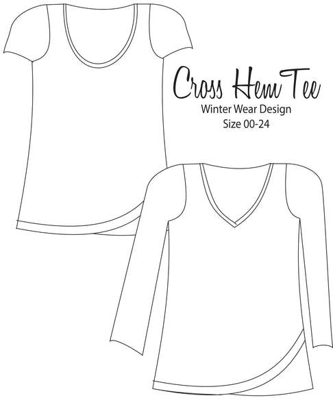 Cross Hem Tee for Women size 00-24 - FREE WITH CODE